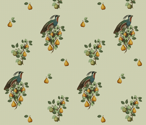 Partridge in a Pear Tree  fabric by hauteideas on Spoonflower - custom fabric