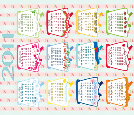 2011 Vintage Aprons Tea Towel Calendar fabric by debbiek on Spoonflower - custom fabric