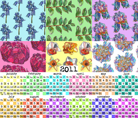 patchwork botanica 2011 calendar fabric by aprilmariemai on Spoonflower - custom fabric