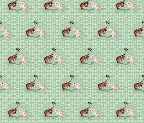 Mistletoe Mice fabric by hauteideas on Spoonflower - custom fabric