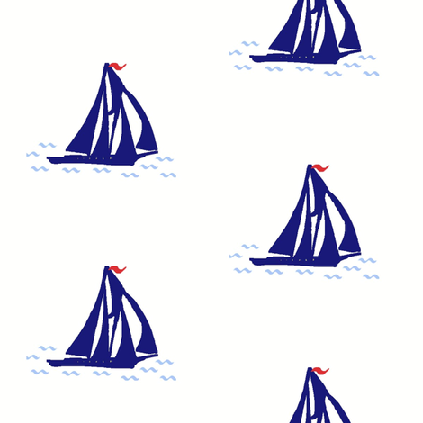 Navy Blue Schooner fabric by captiveinflorida on Spoonflower - custom fabric