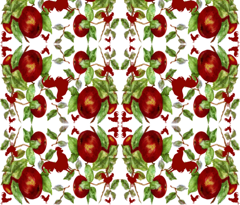 Apples & Roosters fabric by paragonstudios on Spoonflower - custom fabric