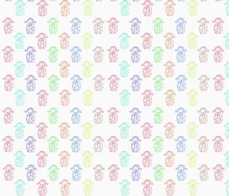 Kokeshi Dolls fabric by woolybumblebee on Spoonflower - custom fabric