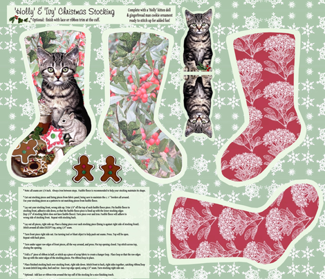 'Holly & Ivy' Christmas Stocking fabric by hauteideas on Spoonflower - custom fabric