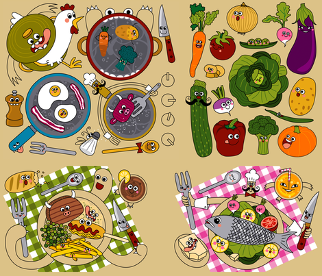 Kitchen Monsters fabric by katiavial on Spoonflower - custom fabric
