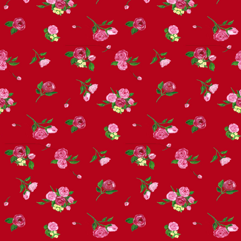 basic flowers rosapomposa red fabric by rosapomposa on Spoonflower - custom fabric