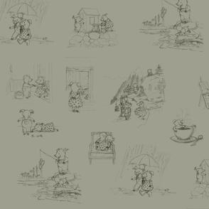 Hand-drawn Piggy Toile