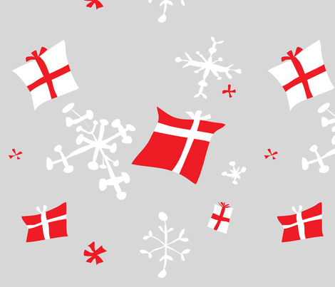 Retro Danish snowflakes and gifts fabric by babydobbins on Spoonflower - custom fabric