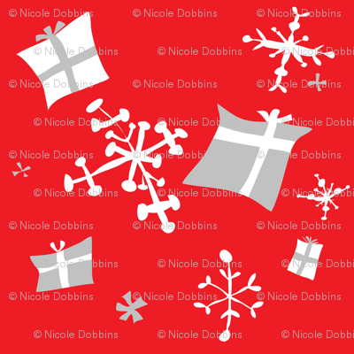 Scandinavian retro snowflakes and gifts