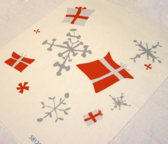 White with red presents Snowflakes
