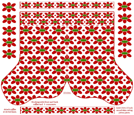 4 Holiday Floral Cheer Stockings Kit on a yard fabric by kdl on Spoonflower - custom fabric