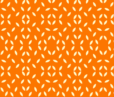 cream_leaf_on_orange2 fabric by featheredneststudio on Spoonflower - custom fabric