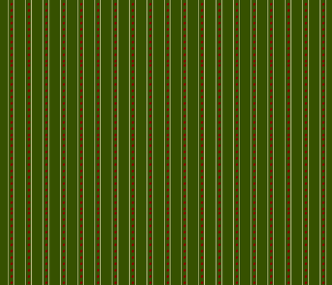 Red dots and white stripe on green fabric by featheredneststudio on Spoonflower - custom fabric