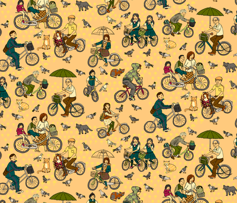 Japanese Bikes fabric by 1stpancake on Spoonflower - custom fabric