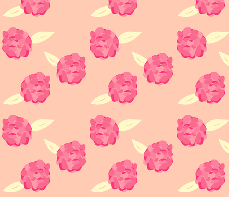 Pink Peony fabric by featheredneststudio on Spoonflower - custom fabric