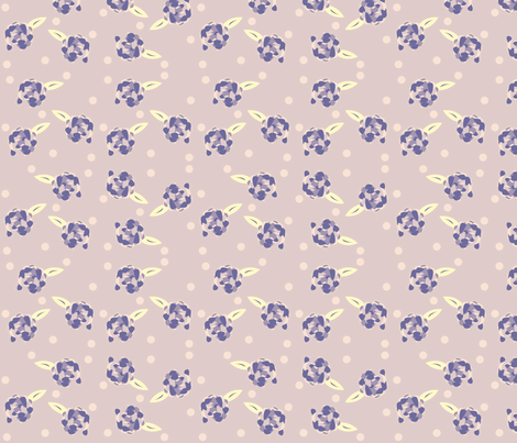 Purple Polka Dotted Peony fabric by featheredneststudio on Spoonflower - custom fabric