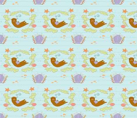 Sea Otter Salad fabric by fauxfauna on Spoonflower - custom fabric