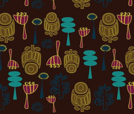 Vintage Gardens Midnight Modern fabric by sbd on Spoonflower - custom fabric