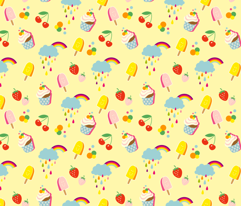 Sweet Life yellow fabric by hamburgerliebe on Spoonflower - custom fabric