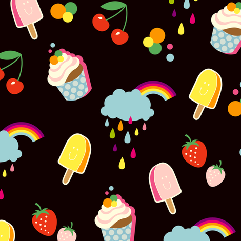 Sweet Life - black fabric by hamburgerliebe on Spoonflower - custom fabric