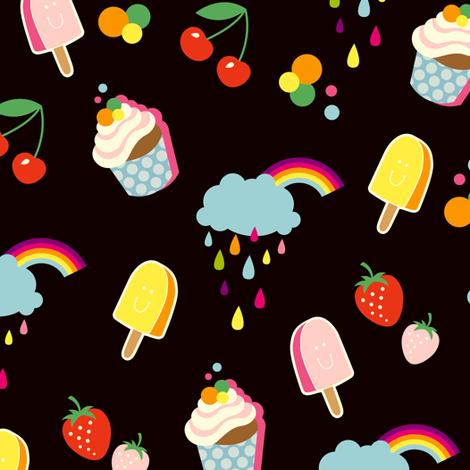 Sweet Life - black fabric by hamburgerliebe on Spoonflower - custom fabric