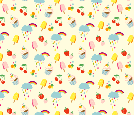 Sweet Life - white fabric by hamburgerliebe on Spoonflower - custom fabric