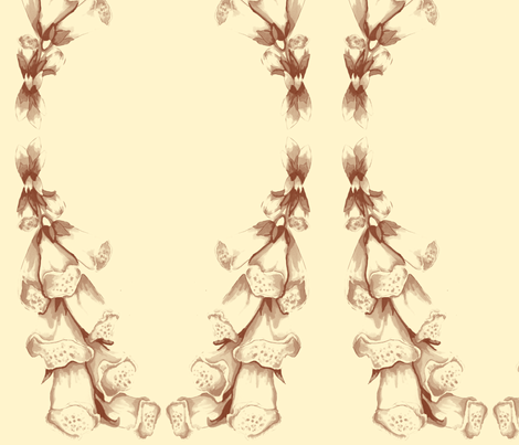 Foxglove in Sepia fabric by sewslow on Spoonflower - custom fabric