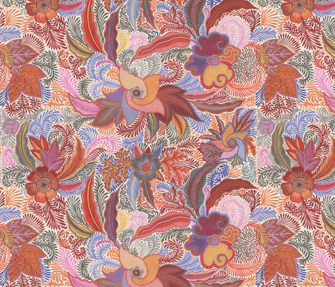 Jungle Phantasiesn brown-pink-orange-violet fabric by eva_the_hun on Spoonflower - custom fabric