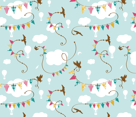 birdie bunting fabric by tradewind_creative on Spoonflower - custom fabric