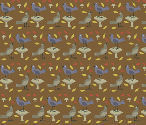 birds_on_brown fabric by antoniamanda on Spoonflower - custom fabric