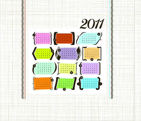 Parenthesis & Brackets / 2011 Tea Towel Calendar fabric by studio_jones on Spoonflower - custom fabric