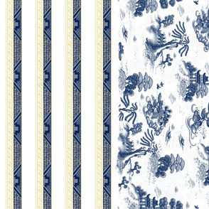 Blue Willow Toile with Border