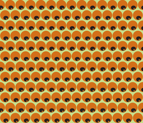 orange circles in circles on green fabric by luluhoo on Spoonflower - custom fabric