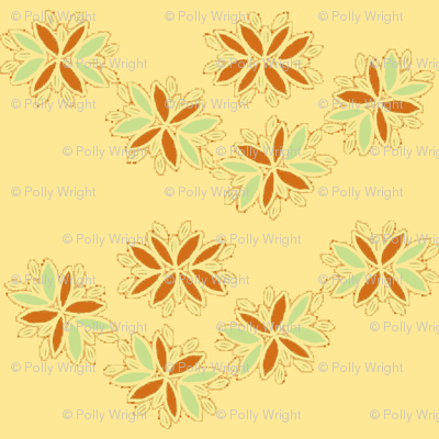 flowery chain on creamy yellow