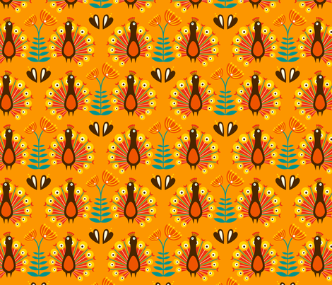 Martha orange fabric by hamburgerliebe on Spoonflower - custom fabric