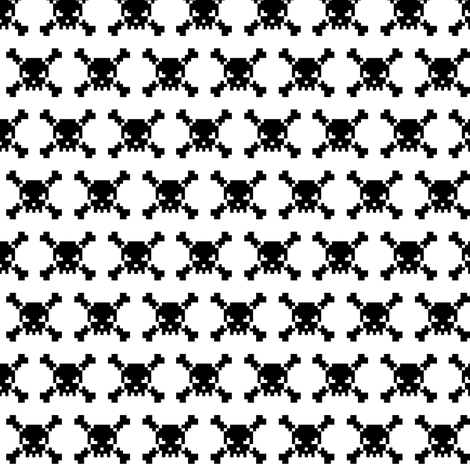 skulls - black on white fabric by iamnotadoll on Spoonflower - custom fabric