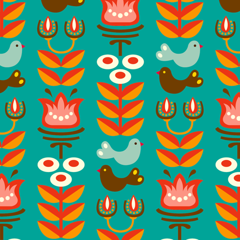 Helga turquoise fabric by hamburgerliebe on Spoonflower - custom fabric