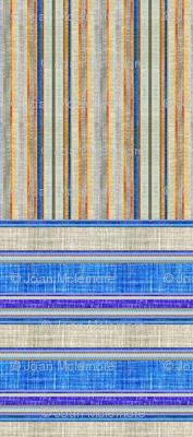 Doll split yard faux linen stripe in blue