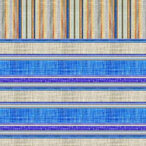 Doll split yard faux linen stripe in blue fabric by joanmclemore on Spoonflower - custom fabric