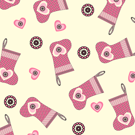 My Heart is on my Stocking - Cream fabric by rhondadesigns on Spoonflower - custom fabric