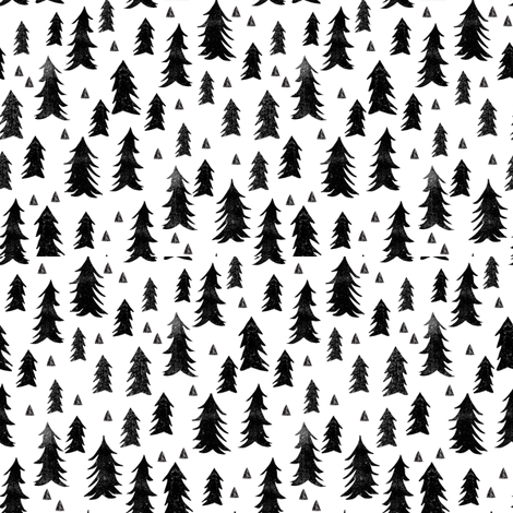 trees // forest trees black and white fabric by andrea_lauren on Spoonflower - custom fabric