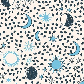 Sun, Moon, Stars - Cream/Parisian Blue/Soft Blue by Andrea Lauren