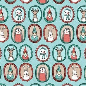 Christmas Portraits // small version christmas deer snowman cute illustration