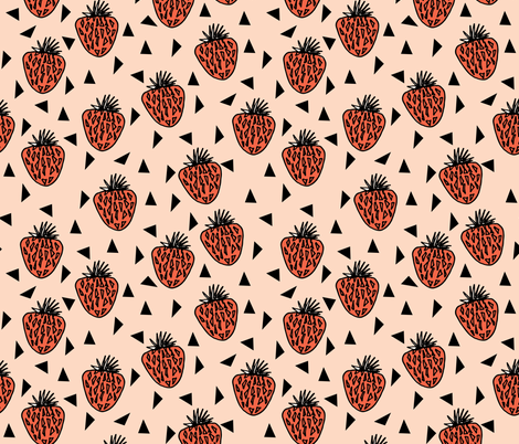 Very Strawberry - Blush/Coral/Black fabric by andrea_lauren on Spoonflower - custom fabric
