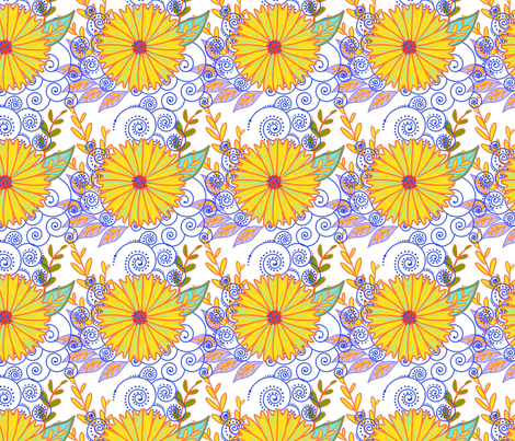 Yellow Flower 2 fabric by snuss on Spoonflower - custom fabric
