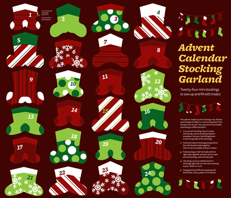Advent Calendar Mini Stocking Garland fabric by monmeehan on Spoonflower - custom fabric