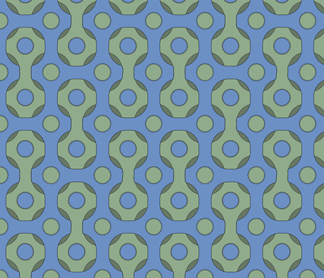 Retro Grid Blue fabric by poetryqn on Spoonflower - custom fabric