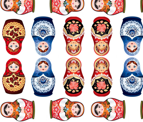 Nesting dolls matryoshka fabric by motleycruiser on Spoonflower - custom fabric