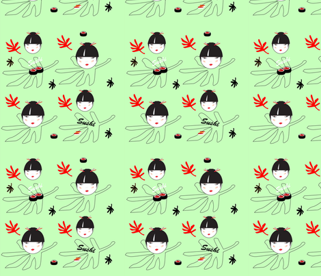 sushi_vert_copy fabric by nathaliecdesigns on Spoonflower - custom fabric