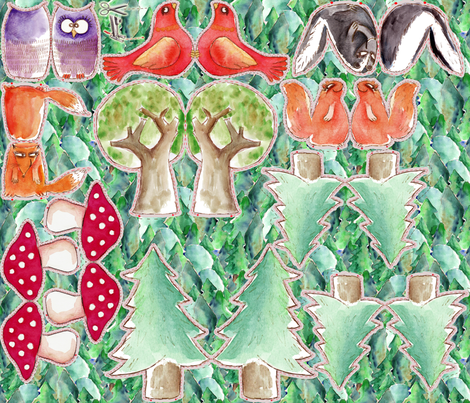 les amis de la forêt v3 fabric by nadja_petremand on Spoonflower - custom fabric